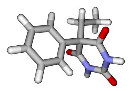 Epilepsia fármaco fenobarbital 3D estructura molecular Foto de archivo - 14926567