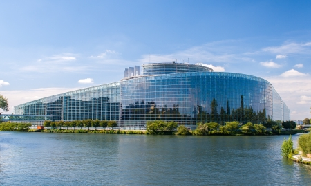European Parliament building in Strasbourg, France photo