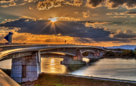 Pierre Pflimlin motorway bridge over the Rhine between France and Germany Stock Photo