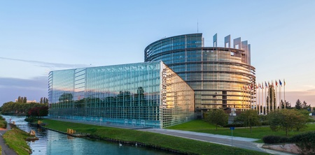 Building  Louise Weiss  of European Parliament in Strasbourg, Alsace, France