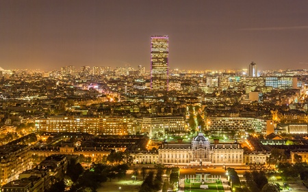 Tour Montparnasse and Ecole Militaire as seen from Eiffel Tower  Paris, France Stock Photo