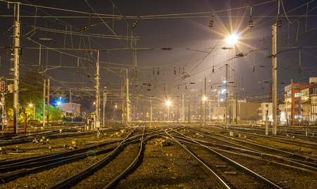 Strasbourg railway station at night  Alsace, France Stock Photo - 16232915