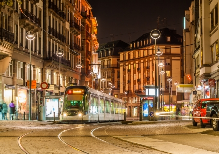 Modern tram on at Strasbourg city center  France, Alsace