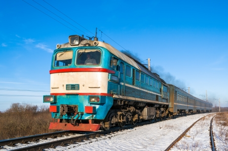 Diesel local train in Ukraine.