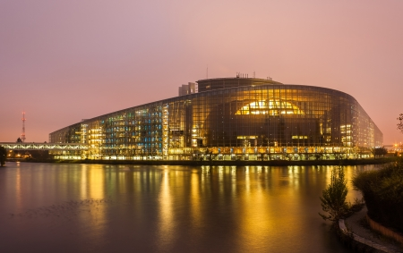 Building  Louise Weiss  of European Parliament in Strasbourg, Alsace, France Banco de Imagens