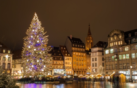 Christmas tree at Place Kleber in Strasbourg,  Capital of Christmas   Alsace, France Editorial