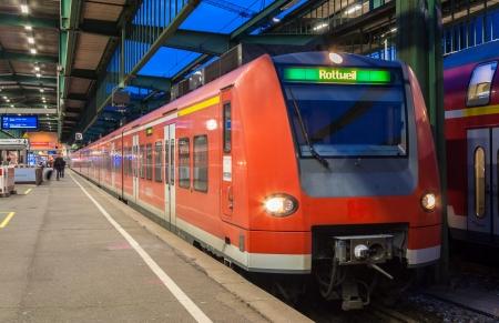 Suburban electric train at Stuttgart railway station  Germany - Baden-Württemberg Stock Photo - 16817139