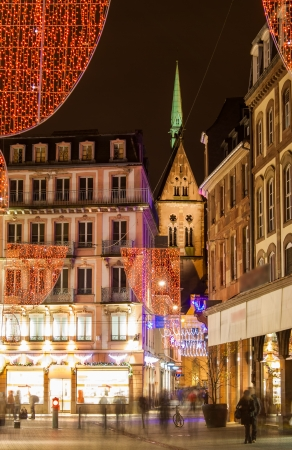 Christmas decorations on streets of Strasbourg  Alsace, France