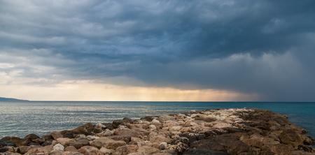 alpes: Riprap in The Mediterranean Sea - Menton -  France