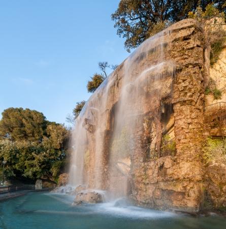 boron: Waterfall in Parc de la Colline du Château - Nice, France Stock Photo