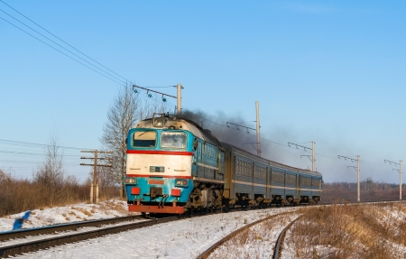 Diesel local train in Ukraine. photo