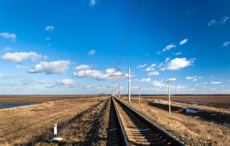 Single-track electrified (25 kV, 50 Hz) railway line in Ukraine Stock Photo - 18529458