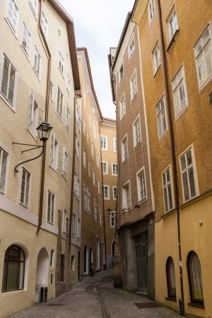 amadeus mozart: Houses in Salzburgs old town - Austria Stock Photo