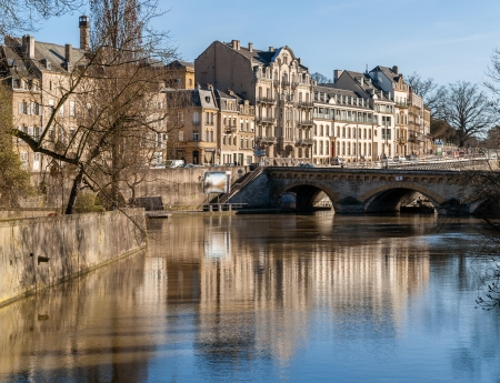 View of Metz town over Moselle river - Lorraine, France