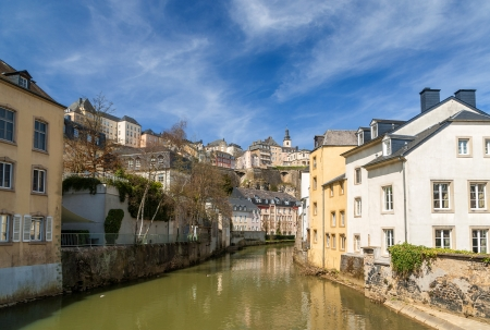 Luxembourg old city  Grund quarter and Alzette river photo
