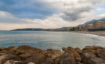 Mediterranean Sea shore in Menton - French Riviera photo