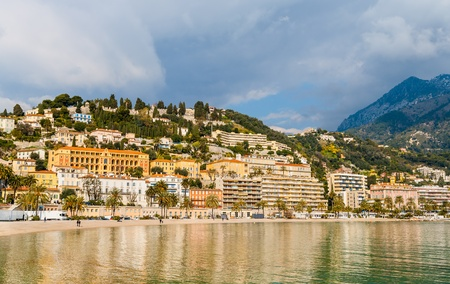 View of Menton city from the Mediterranean Sea - French Riviera photo