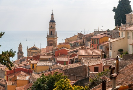 Menton city against the background of the Mediterranean sea - French Riviera photo
