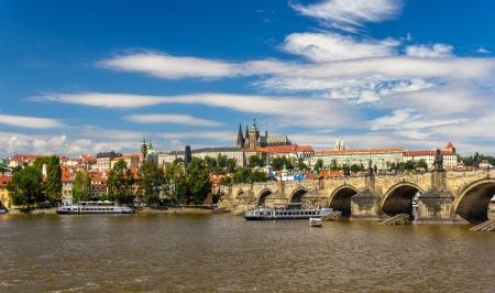 czech culture: View of Charles Bridge and Prague Castle Stock Photo