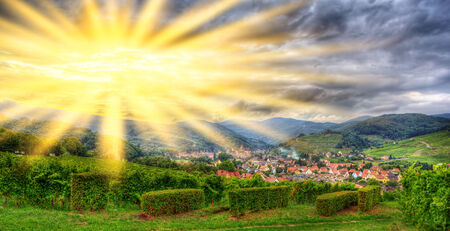 andlau: View of Andlau village in Vosges mountains - Alsace, France Stock Photo