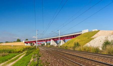 est: Overpass of new hi-speed railway LGV Est near Strasbourg - France