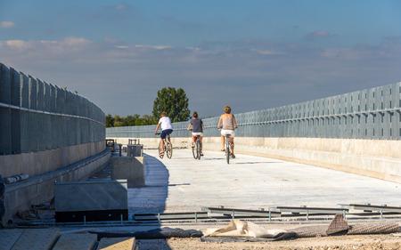 est: High-speed railway LGV Est near Strasbourg, currently used as bikepath by locals