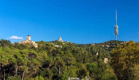 View of Tibidabo mountain in Barcelona, Spain photo