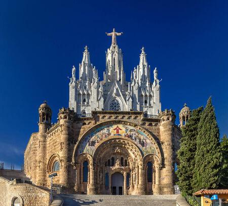 sagrat cor: Temple Expiatori del Sagrat Cor on Tibidabo mountain in Barcelona, Spain