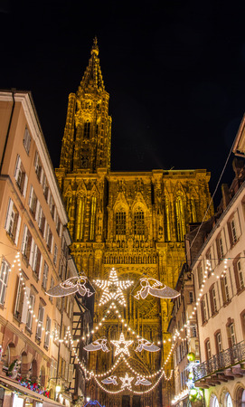 Christmas decorations near the Cathedral - Strasbourg, Capital of Christmas - France photo
