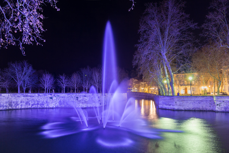 fontaine: Jardins de la Fontaine in Nimes at night - France, Languedoc-Roussillon