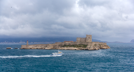 castle if: View of If castle in Mediterranean sea - France Editorial