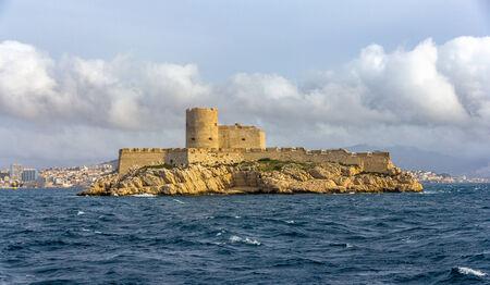 monte cristo: View of If castle in Mediterranean sea - France Editorial