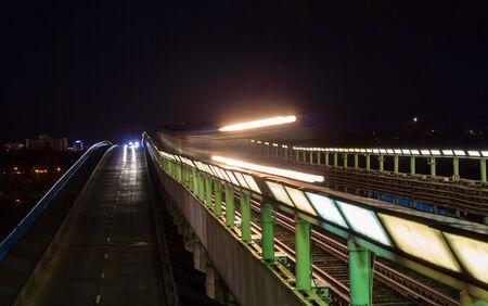 Subway train passing a bridge in Kiev, Ukraine