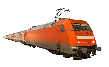 intercity: German train isolated on white background Editorial