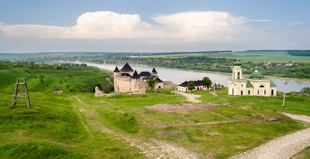 Panorama of Khotyn fortress on Dniester riverside  Ukraine