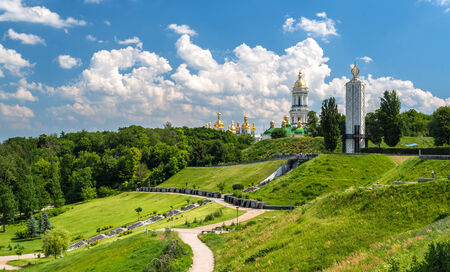 Kiev Pechersk Lavra Orthodox Monastery and Memorial to famine  holodomor  in USSR  Ukraine photo