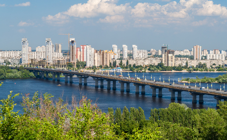 dnieper: View of Paton Bridge and Left Bank of the Dnieper river in Kyiv, Ukraine