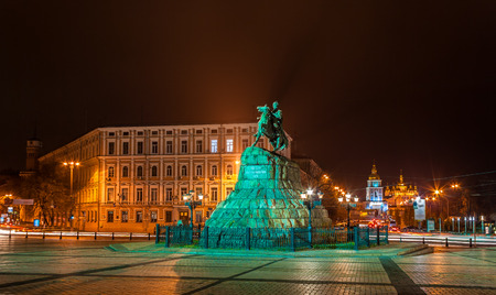 The Bogdan Khmelnitsky monument and Mikhailovsky monastery in Kyiv