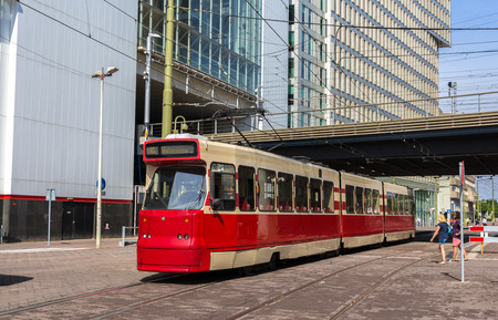 Old tram in the Hague, Netherlands Stock Photo
