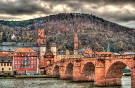alte: View of Heidelberg with Alte Brucke - Baden-Württemberg, Germany Stock Photo