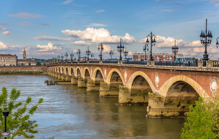 famous industries: Pont de pierre in Bordeaux - Aquitaine, France