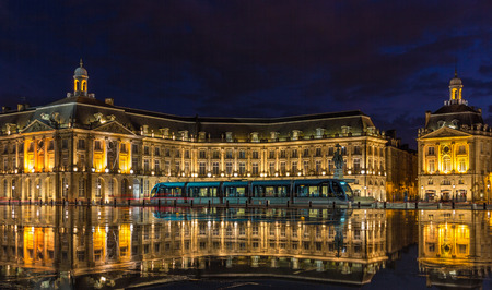 aquitaine: Tram on Place de la Bourse in Bordeaux - France