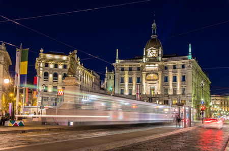 Tram passing Piazza Cordusio in Milan, Italy Stock Photo