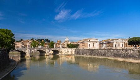 tiber: Rome city over The Tiber river - Italy
