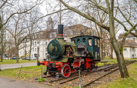 karlsruhe: Monument of steam locomotive in Karlsruhe Institute of Technology, Germany