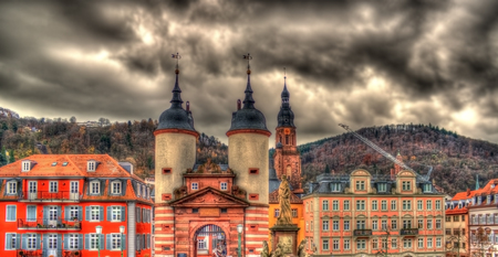 theodor: Entrance to Heidelberg from Karl Theodor Bridge - Germany Stock Photo