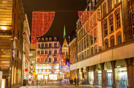 jeune: Christmas decorations on streets of Strasbourg  Alsace, France