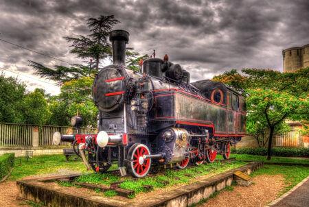 narrow gauge railroad: Steam locomotive - monument in Rijeka, Croatia