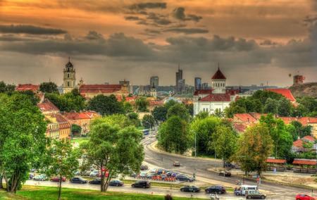Evening view of Vilnius, Lithuania Stock Photo