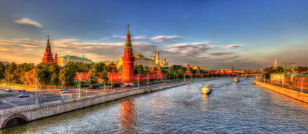 Evening panorama of Moscow Kremlin, Russia